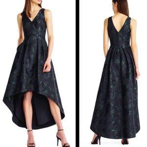 Aidan Mattox metallic jacquard high low dress